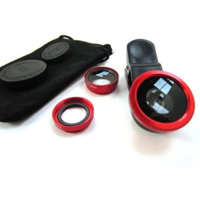 3 in 1 Mobile Phone Camera Lens Kit 180 Degree Fish Eye Lens + 2 in 1 Micro Lens + Wide Angle Lens Red - RED