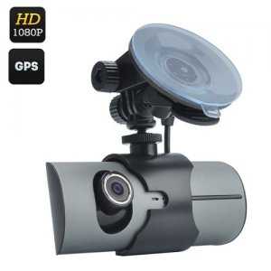 Dual Camera Car DVR - 2.7 Inch Display, 130 Degree Lens, GPS, G-Sensor, Double CMOS Sensor, Micro SD, H.264 Decoding