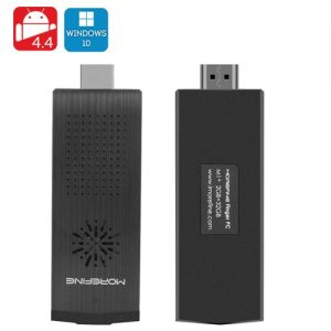 MoreFine M1+ HDMI Dongle - Licensed Windows 10 + Android 11.0 OS, Intel Quad Core CPU, 2GB RAM, 128GB Micro SD Slot, Wi-Fi, BT