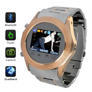 Quad Band 1.3 Inch TFT Touchscreen Watch Moblie Phone + Wireless Data Transfer