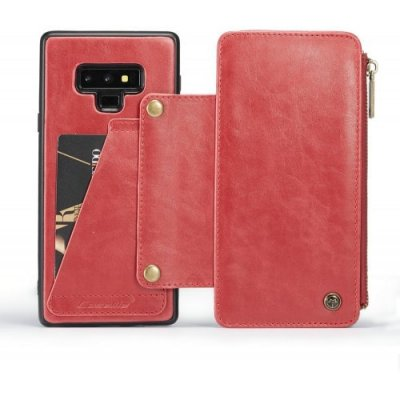 CaseMe Dachable 2 in 1 Business Zipper Leather Wallet Cover for Samsung Note 9 - RED
