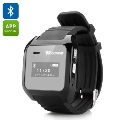 iMacwear Bluetooth Smartwatch - SMS + Phonebook Sync, Makes + Answers Calls, Pedometer, Call Records