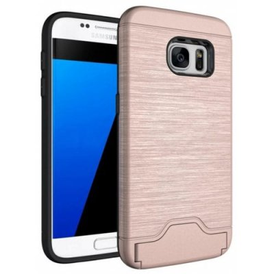 Case for Samsung Galaxy S7 Card Holder with Stand Back Cover Solid Color Hard PC - ROSE GOLD