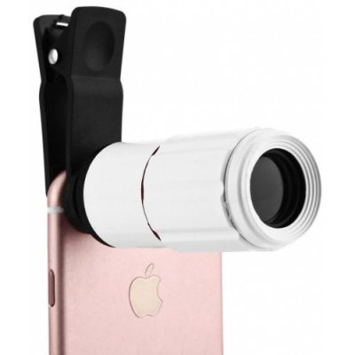 8 x 18 Optical Zoom Mobile Phone Telescope - WHITE