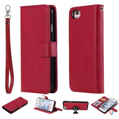 For iPhone 12 Pro Case Magnetic 2 in 1 Detachable Wallet Cover For iPhone 12 - RED
