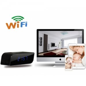 720P Wifi/IP Alarm Clock Hidden Camera 160 Degree Wide Angle IR Night Vision DVR for iPhone/Android