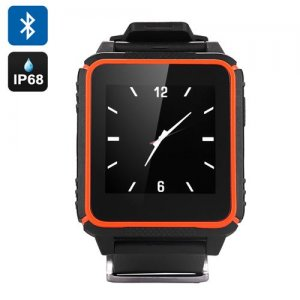 Waterproof Phone Watch 'TrekSmart' - GSM, 1.54 Inch IPS HD Screen, IP68 Android + iOS, Sleep Monitor, Pedometer (Orange)