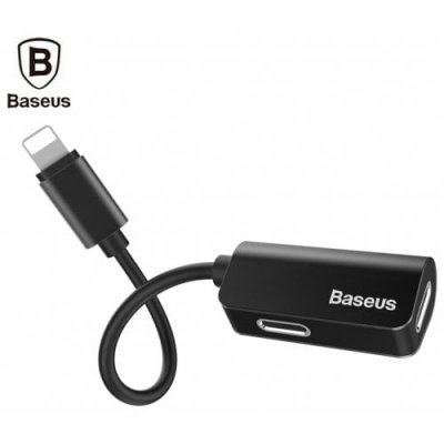 Baseus L37 Male to Dual Female 8 Pin Audio Charging Adapter - BLACK
