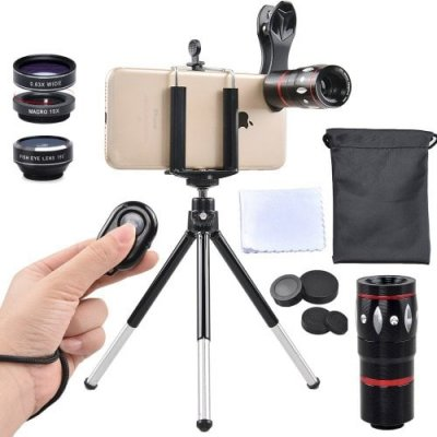APEXEL APL-JS10X3ZJB 5 in 1 Mobile Camera Lens Kit Telephoto Wide Macro Fisheye - BLACK