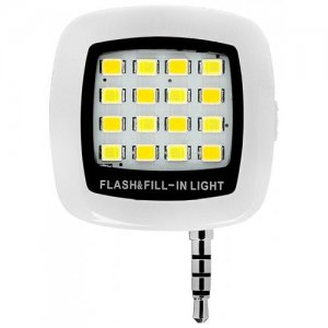 Mini 16 LED Selfie Enhancing Dimmable Cellphone Camera Flash Fill-in Light - WHITE
