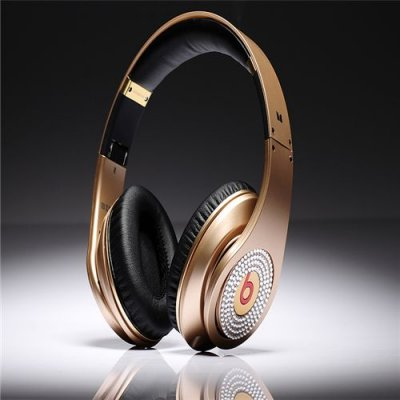Beats By Dre Studio High Definition Powered Isolation Headphones Champagne With White Diamond