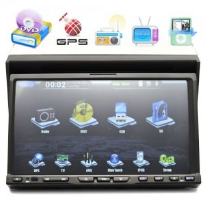 In Dash Motorized Faceplate 7 Inch Video Screen Car DVD Player + GPS