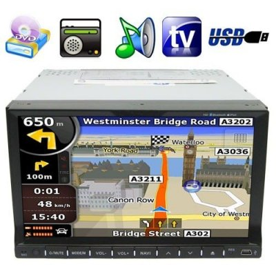 7 Inch 2 Din in-Dash Car DVD Player with Built-in GPS