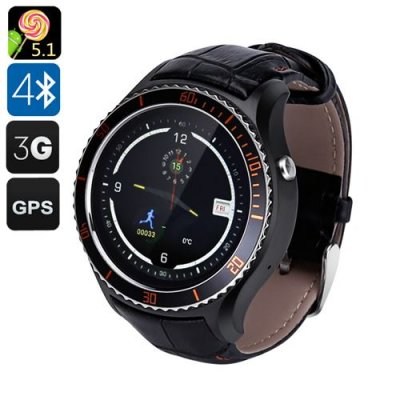 IQI I2 Android 9.1 Smart Watch - Quad Core CPU, Wi-Fi, Bluetooth 4.0, Play Store, Pedometer, Heart Rate Monitor, GPS (Black)