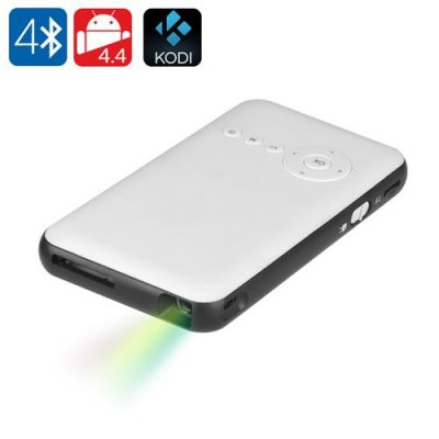 Android 9.1 Mini DLP Projector - 100 Lumen, 2000:1 Contrast Ratio, Quad Core CPU, Wi-Fi, Bluetooth, Kodi