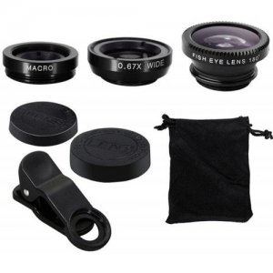 3 in1 Fish Eye Wide Angle Macro Camera Clip-on Lens for Universal Cell Phone - BLACK