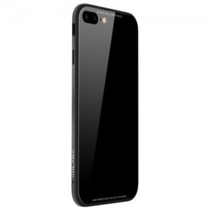 Toughened Glass Backboard The Silicone Soft Shell Metal Frame Following From for iPhone 8 Plus - 7 Plus Case - BLACK