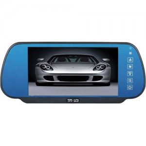 7 Inch Rearview Mirror with Hands-free Function + Anti-glaring Blue Glasses
