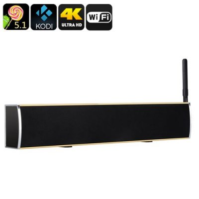 Android TV Box + Soundbar - 4Kx2K, Android 11.0, Quad Core CPU, DVB-T2, 50 Watt Audio, HDMI, Wi-Fi, Kodi (Gold)