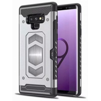 Card Slot Hybrid Armor Built-in Magnetic Metal Case for Samsung Galaxy Note 9 - SILVER