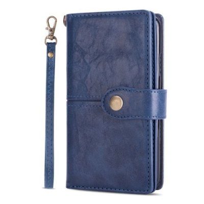 Button Multifunction Wallet Card Phone Cover Hanging Rope for Iphone XR - BLUE