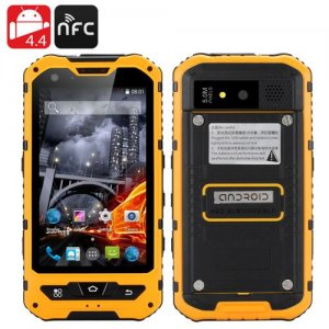 4 Inch Waterproof Rugged Smartphone - Android 9.1, Quad Core CPU, IP67, 1GB RAM + 8GB ROM, Dual SIM (Yellow)