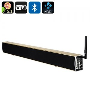 KS1 Android TV Media Player + Soundbar - 4K Resolution, Android 11.0 Wi-Fi, Bluetooth, Preinstalled KODI 16.0 (Gold)