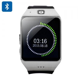 Uhappy UW1 Bluetooth Phone Watch - 1.54 Inch Screen, Pedometer, Sedentary Reminder, GSM, NFC Support, SD Card (Silver)