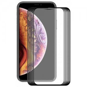 Hat-prince Curved Carbon Fiber Full Screen Tempered Glass Film for iPhone XR 0.2mm 5pcs - BLACK