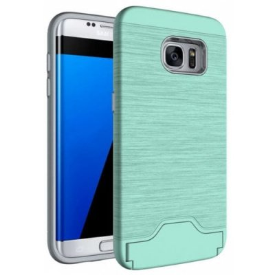 Case for Samsung Galaxy S7 Edge Card Holder with Stand Back Cover Solid Color Hard PC - LIGHT GREEN