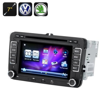 2 DIN Car DVD Player - 7 Inch Screen,GPS, Bluetooth, Region Free, FM Radio, For VW + Skoda Cars