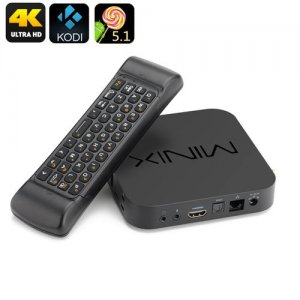 MINIX NEO U1 TV Box - 4K UHD, Kodi 16, Quad Core Amlogic S905 CPU, 2GB RAM, Air Mouse, Android 11.0, Dual Band Wi-Fi
