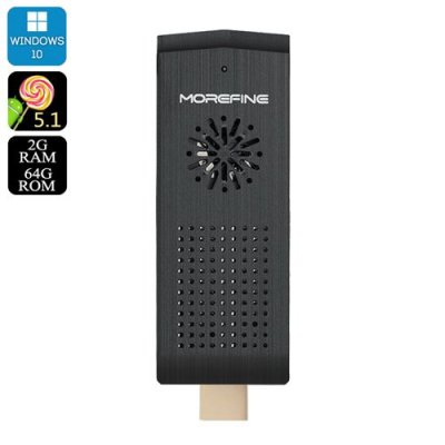 MoreFine M1+ Plus HDMI Dongle - Windows 10 + Android 11.0, Intel x5-Z8300 CPU, 2GB RAM, 128GB Micro SD Slot, Wi-Fi, BT4.0