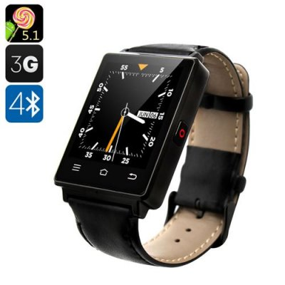 NO.1 D6 3G Smart Watch - Android 11.0, 3G, Bluetooth 4.0, Wi-Fi, GPS, Pedometer, Barometer (Black)