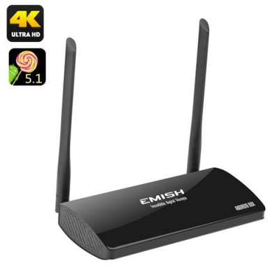 EMISH Android 9.1 TV Box - Rock Chip Octa Core 3368 CPU, 4K Resolution, Kodi, Wi-Fi, Bluetooth, AV Out, Remote