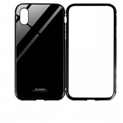 Creative Magnetic Tempered Glass Phone Case for IPhone X - BLACK