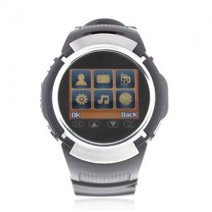 MQ222 Watch Phone Quad Band 1.4 Inch Touch Screen Camera Bluetooth FM with Bluetooth Earphone - Black