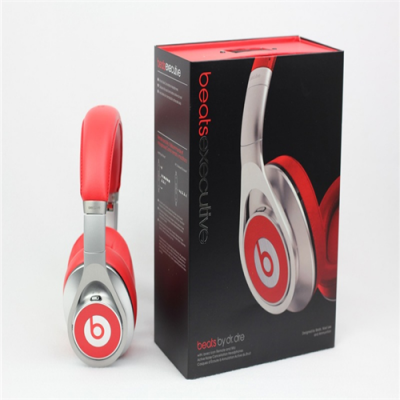 Beats Executive High Quality Over-Ear Headphones With Noise Cancelling Silver Red