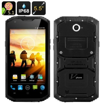 V Phone X3 Rugged Smartphone - Android 11.0, 5.5 Inch HD Screen, IP68, 4500mAh Battery, Two SIM, FM Radio (Black)