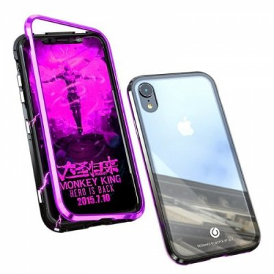 Mobile Shell Metal Xr Mobile Phone Cases Magnetic King Glass Shell for iPhone XS - BLACK PURPLE