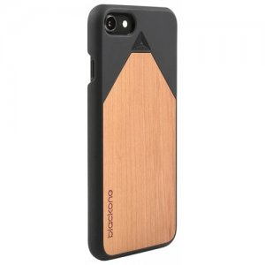 Wood PC Phone Back Case Protector for iPhone 8 - NATURAL BLACK