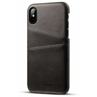 For iPhone X Case Leather Wallet Card Phone Back Shell - BLACK