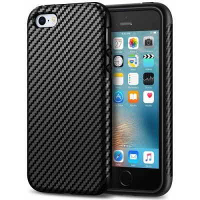 Carbon Fiber Leather Design Cover Case iPhone SE-5S-5 (Black) - BLACK