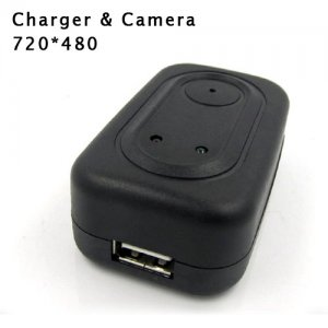 Mini Adaptor Charger Spy Camera DVR with 720X480 Hidden Camera and 4G Memory