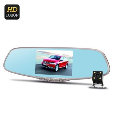 Dual Camera Rear Mirror Car DVR - Full HD, Motion Detection, G-Sensor, Rear Camera, Loop Recording, 5 Inch Screen