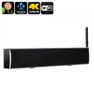 Android TV Box + Soundbar - Quad Core Android 11.0, 4K, DVB-T2 Functionality, Kodi V16 Pre-Installed, 50W Audio Output (Grey)