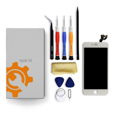 iPhone 6s Plus Screen Replacement Repair Kit + Small Parts + Tools + Repair Guide - White