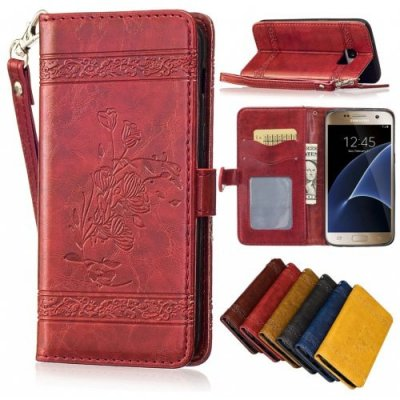 for Samsung Galaxy S6 Case Cover Embossed Oil Wax Lines Phone Case Cover PU Leather Wallet Style Case - RED