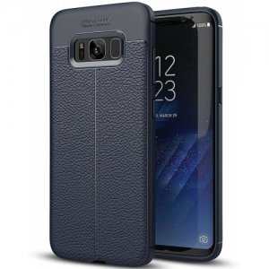 ASLING Litchi Grain TPU + PU Leather Back Cover Case for Samsung Galaxy S8 - CADETBLUE