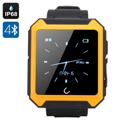 Uterra Bluetooth Smartwatch - IP68 Waterproof, Phone Book Sync, Phone Call, SMS, Sleep Monitor, Pedometer (Orange)